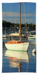 Sloop Reflections Beach Sheet by Roupen  Baker