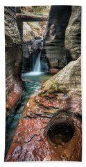 Slot Canyon Waterfall At Zion National Park Beach Towel