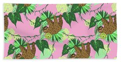 Sloth - Green On Pink Beach Towel