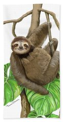 Beach Towel featuring the mixed media Hanging Three Toe Sloth  by Thomas J Herring