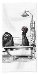 Sloth In Bathtub Taking A Shower Beach Towel