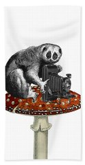 Slow Loris With Antique Camera Beach Towel
