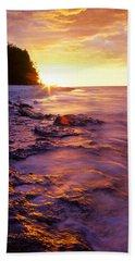 Slow Ocean Sunset Beach Towel