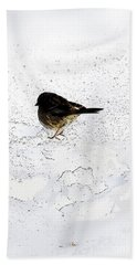 Small Bird On Snow Beach Sheet