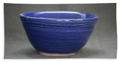 Small Blue Ceramic Bowl Beach Sheet by Suzanne Gaff