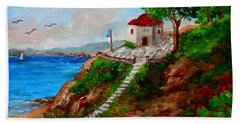 Small Church In Greece Beach Towel