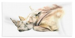 Beach Sheet featuring the painting Small Colour Rhino by Elizabeth Lock