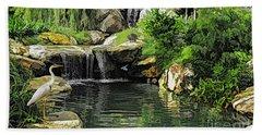 Small Creek Waterfall With Wildlife Beach Sheet