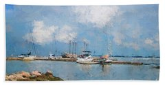 Small Dock With Boats Beach Towel
