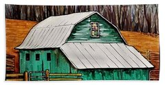 Small Green Barn With Quilted Window Beach Towel