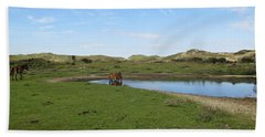 Small Lake With Wild Horses Beach Towel