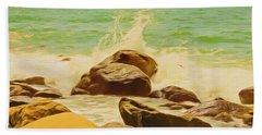 Small Ocean Waves,large Rocks. Beach Towel