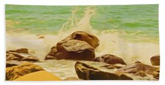 Small Ocean Waves,large Rocks. Beach Sheet