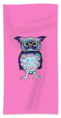 Small Owl Pink Beach Towel