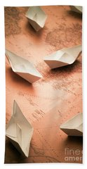 Small Paper Boats On Top Of Old Map Beach Towel