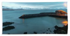 Beach Towel featuring the photograph Small Port Near Snaefellsjokull Mountain, Iceland by Dubi Roman