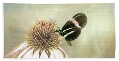 Small Postman Butterfly On Cone Flower Beach Towel