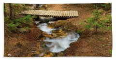 Beach Towel featuring the photograph Small Stream Nature Walking Bridge by James BO Insogna