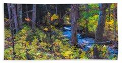 Small Stream Through Autumn Woods Beach Towel