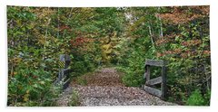Beach Towel featuring the photograph Small Trestle Along Rail Trail by Jeff Folger