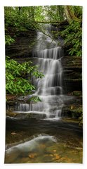 Small Waterfalls In The Forest. Beach Towel by Ulrich Burkhalter