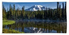 Misty Morning At Reflection Lake Beach Towel