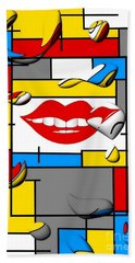 Beach Towel featuring the digital art Smile By Nico Bielow by Nico Bielow