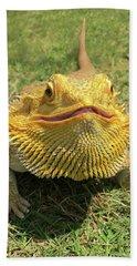 Smiling Bearded Dragon  Beach Sheet by Susan Leggett