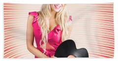 Smiling Dj Woman In Love With Retro Music Beach Towel