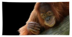 Cute Young Orangutan Beach Towel