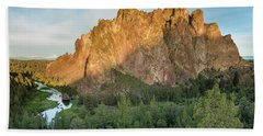 Beach Towel featuring the photograph Smith Rock First Light by Greg Nyquist