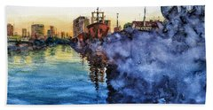 Smoke On The Water Beach Towel by Bernardo Galmarini