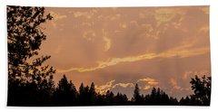 Smokey Skies Sunset Beach Towel by Melanie Lankford Photography