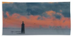 Smokey Sunrise At Ram Island Ledge Light Beach Towel