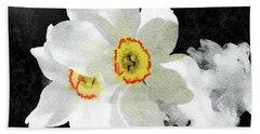 Smokey White Floral Beach Sheet