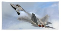 Beach Sheet featuring the digital art Smokin - F22 Raptor On The Go by Pat Speirs