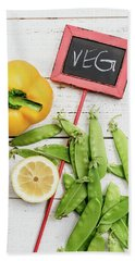 Beach Towel featuring the photograph Snap Peas And Bell Pepper Still Life by Rebecca Cozart