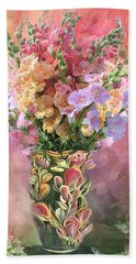 Beach Towel featuring the mixed media Snapdragons In Snapdragon Vase by Carol Cavalaris