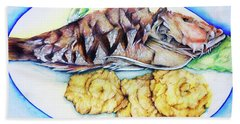 Snapper And Tostones Beach Towel