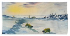 Snow And Sheep On The Moors Beach Sheet