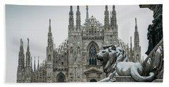 Snow At Milan's Duomo Cathedral  Beach Towel