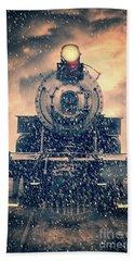 Beach Towel featuring the photograph Snow Bound Steam Train by Edward Fielding