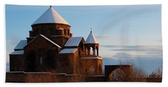 Snow Capped St. Hripsipe Church At Winter, Armenia Beach Towel