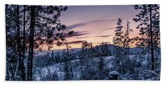 Snow Coved Trees And Sunset Beach Towel