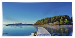 Snow-covered Dock Beach Towel