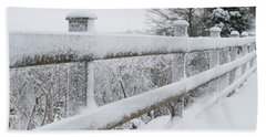 Snow Covered Fence Beach Sheet by Helen Northcott