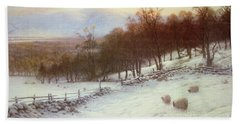 Snow Covered Fields With Sheep Beach Towel