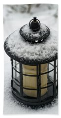 Snow Covered Lamp Beach Towel