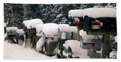 Snow Covered Mailboxes Beach Towel