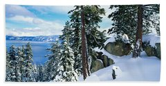 Snow Covered Trees On Mountainside Beach Towel
